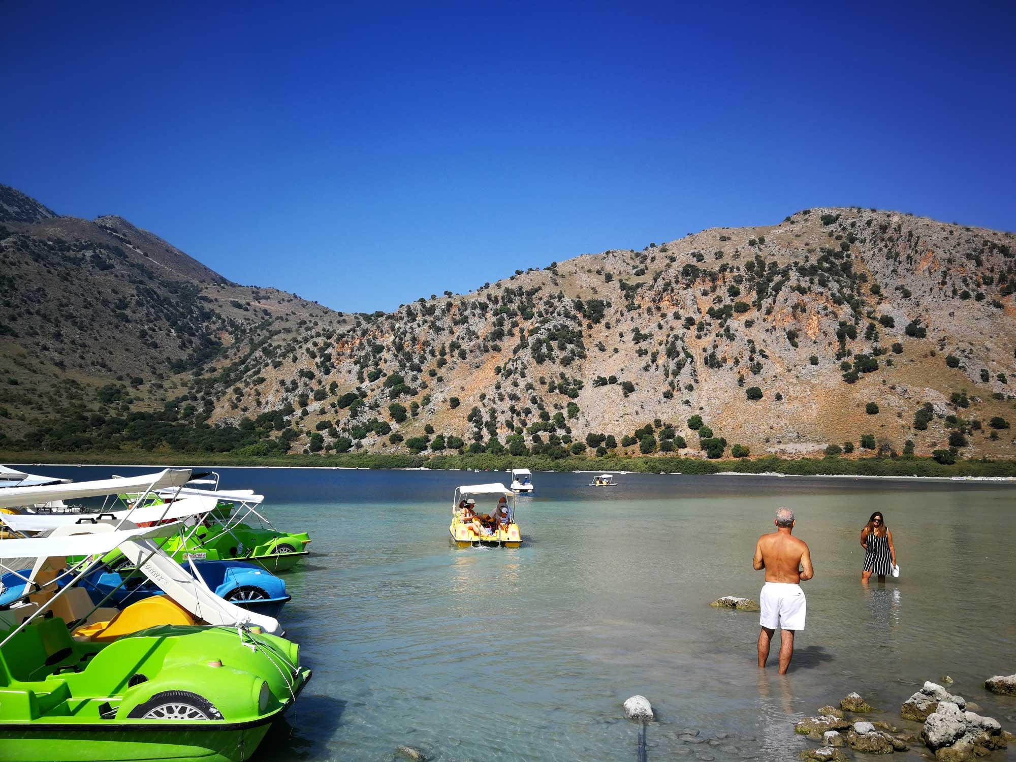 kournas: paddle boats on the lake
