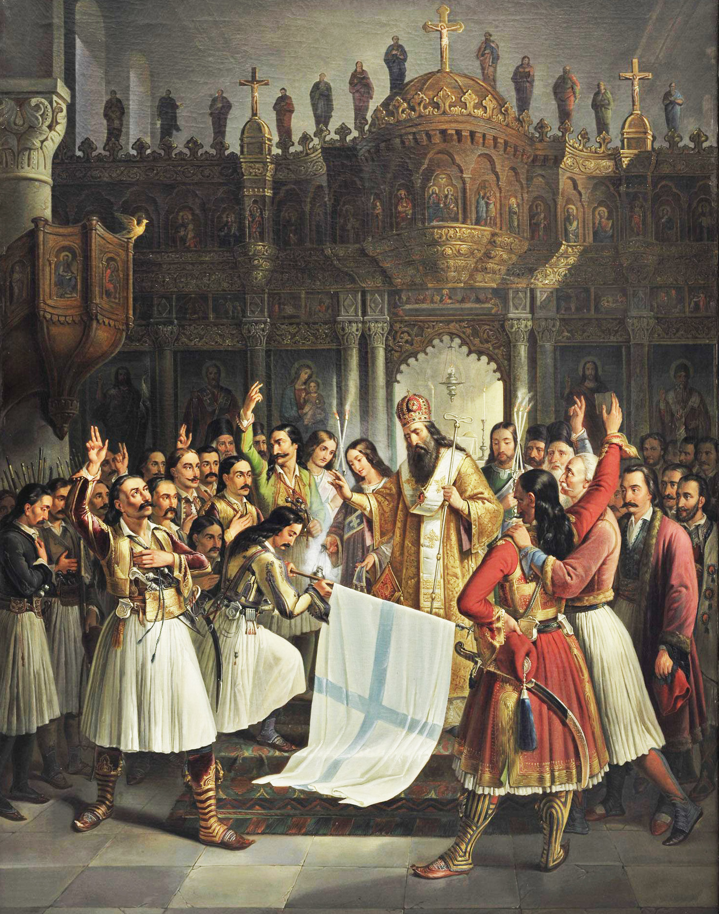 The Bishop of Old Patras Germanos Blesses the Flag of Revolution, 1865 Oil on canvas, by Vryzakis Theodoros (1819 - 1878)