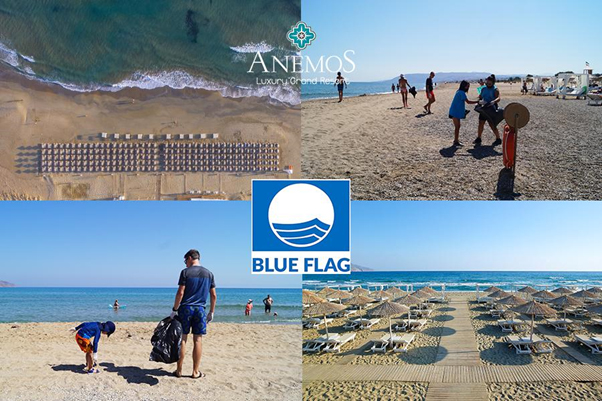 """Blue Flag"" Award to Anemos Luxury Grand Resort Beach Blue Flag 2020"