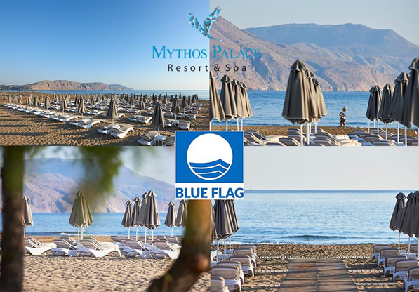 """Blue Flag"" Award to Mythos Palace Resort & Spa Beach Blue Flag 2020"